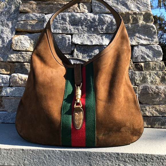 c3942fc08df Gucci Handbags - Gucci Large Brown Suede Web Soft Jackie Hobo Bag
